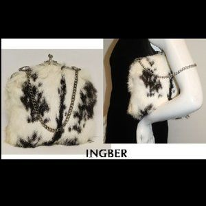 Vintage Elegant Kiss Lock Genuine Fur Handbag